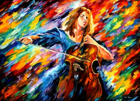 In my paintings leonid afremov art work very colorful and stylish