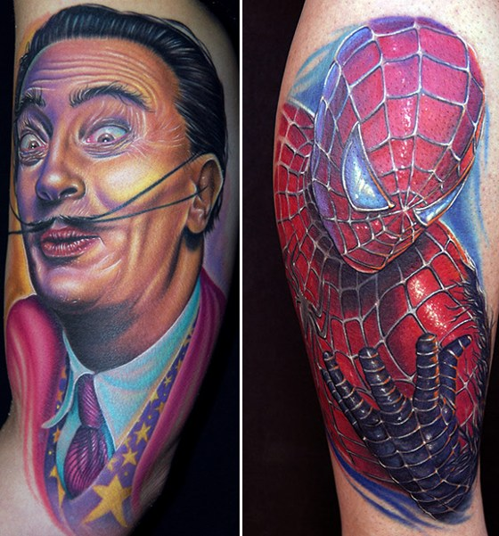 the tattoo genre. His celeb portraits, from Johnny Cash to Salvador Dali